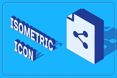 Isometric Share file icon isolated on blue background. File sharing. File transfer sign. Vector Illustration