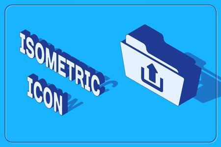 Isometric Folder upload icon isolated on blue background. Vector Illustration
