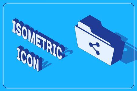 Isometric Share folder icon isolated on blue background. Folder sharing. Folder transfer sign. Vector Illustration