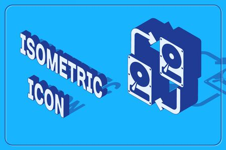 Isometric A fixed data storage device hard disk with arrows, data copy icon isolated on blue background. Data exchange with hard disk drive. Vector Illustration
