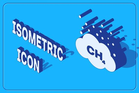 Isometric Methane emissions reduction icon isolated on blue background. CH4 molecule model and chemical formula. Marsh gas. Natural gas. Vector Illustration