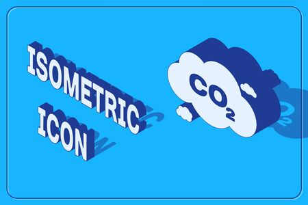 Isometric CO2 emissions in cloud icon isolated on blue background. Carbon dioxide formula symbol, smog pollution concept, environment concept. Vector Illustration