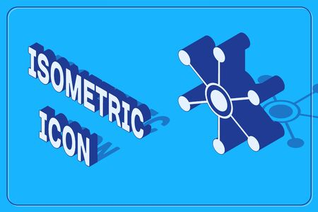 Isometric Network icon isolated on blue background. Global network connection. Global technology or social network. Connecting dots and lines. Vector Illustration