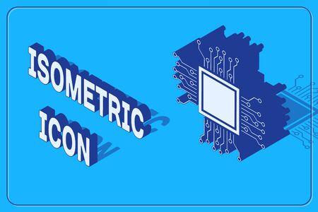 Icône de processeur isométrique isolé sur fond bleu. CPU, unité centrale de traitement, puce électronique, microcircuit, processeur d'ordinateur, puce. Illustration vectorielle Vecteurs