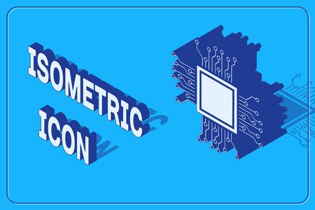 Isometric Processor icon isolated on blue background. CPU, central processing unit, microchip, microcircuit, computer processor, chip. Vector Illustration Vektorgrafik