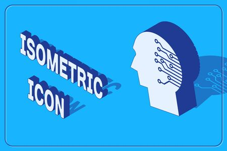 Isometric Human brain as digital circuit board icon isolated on blue background. Artificial Intelligence. Human head outline with circuit lines inside. Vector Illustration