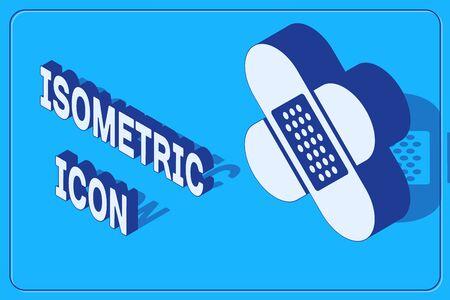 Isometric Crossed bandage plaster icon isolated on blue background. Medical plaster, adhesive bandage, flexible fabric bandage. Vector Illustration