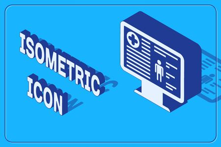 Isometric Medical clinical record on monitor icon isolated on blue background. Health insurance form. Prescription, medical check marks report. Vector Illustration