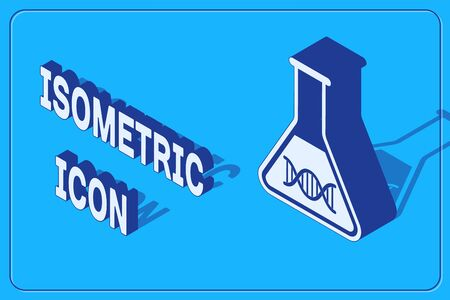 Isometric DNA research, search icon isolated on blue background. Genetic engineering, genetics testing, cloning, paternity testing. Vector Illustration