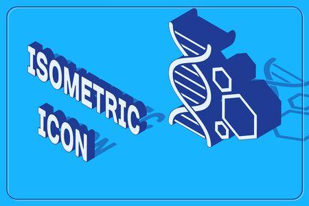 Icône de génie génétique isométrique isolé sur fond bleu. Analyse ADN, tests génétiques, clonage, test de paternité. Illustration vectorielle