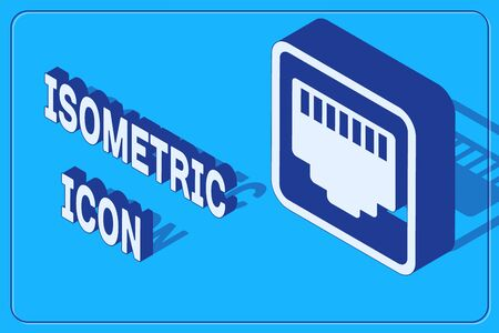 Isometric Network port - cable socket icon isolated on blue background.