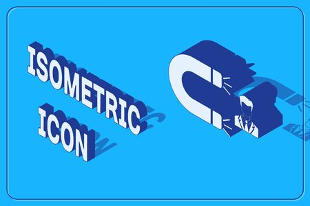 Isometric Customer attracting icon isolated on blue background. Customer retention, support and service. Customer man attracting with magnet. Vector Illustration