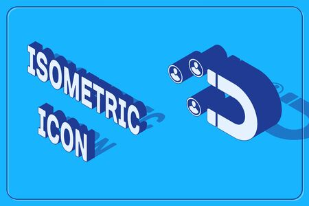 Isometric Customer attracting icon isolated on blue background. Customer retention, support and service. Customer people attracting with magnet. Vector Illustration 向量圖像