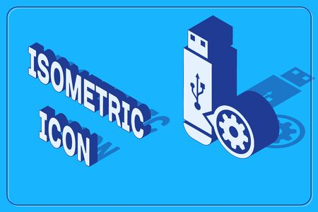 Isometric USB flash drive and gear icon isolated on blue background. Adjusting app, service concept, setting options, maintenance, repair, fixing. Vector Illustration