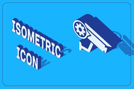 Isometric Security camera and gear icon isolated on blue background. Adjusting app, service concept, setting options, maintenance, repair, fixing. Vector Illustration Иллюстрация