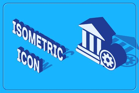 Isometric Bank building and gear icon isolated on blue background. Adjusting app, service concept, setting options, maintenance, repair, fixing. Vector Illustration