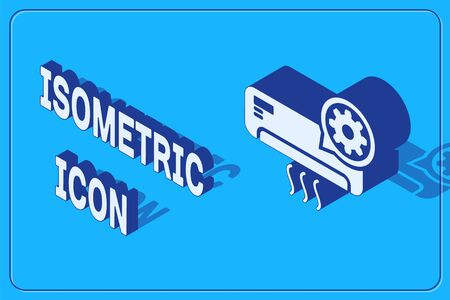 Isometric Air conditioner and gear icon isolated on blue background. Adjusting app, service concept, setting options, maintenance, repair, fixing. Vector Illustration