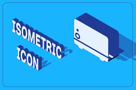 Isometric Toaster icon isolated on blue background. Vector Illustration