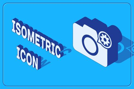Isometric Photo camera and gear icon isolated on blue background. Adjusting app, service concept, setting options, maintenance, repair, fixing. Vector Illustration Фото со стока - 133842422