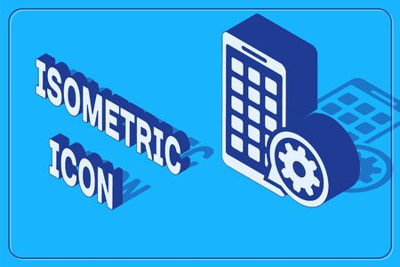 Isometric Mobile Apps and gear icon isolated on blue background. Adjusting app, service concept, setting options, maintenance, repair, fixing. Vector Illustration Иллюстрация