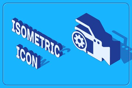 Isometric Video camera and gear icon isolated on blue background. Adjusting app, service concept, setting options, maintenance, repair, fixing. Vector Illustration Иллюстрация