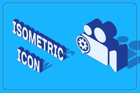 Isometric Movie or Video camera and gear icon isolated on blue background. Adjusting app, service concept, setting options, maintenance, repair, fixing. Vector Illustration