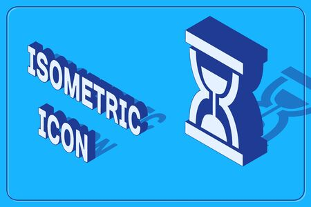 Isometric Old hourglass with flowing sand icon isolated on blue background. Sand clock sign. Business and time management concept. Vector Illustration Ilustracja