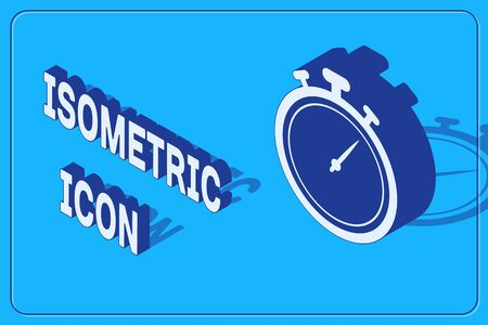 Isometric Stopwatch icon isolated on blue background. Time timer sign. Chronometer sign. Vector Illustration Illustration