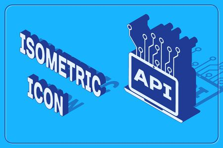Isometric Computer api interface icon isolated on blue background. Application programming interface API technology. Software integration. Vector Illustration