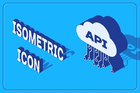 Isometric Cloud api interface icon isolated on blue background. Application programming interface API technology. Software integration. Vector Illustration Ilustrace