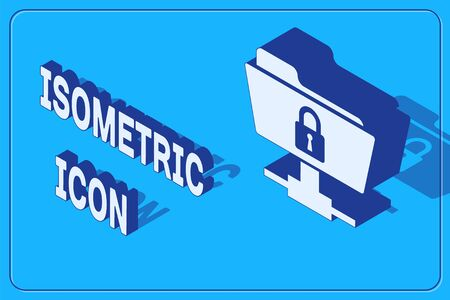 Isometric FTP folder and lock icon isolated on blue background. Concept of software update, ftp transfer protocol. Security, safety, protection concept. Vector Illustration Ilustrace