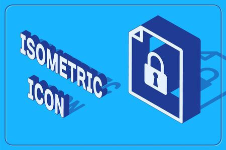 Isometric Document and lock icon isolated on blue background. File format and padlock. Security, safety, protection concept. Vector Illustration