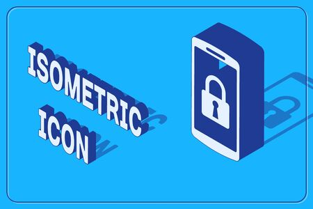 Isometric Smartphone with closed padlock icon isolated on blue background. Phone with lock. Mobile security, safety, protection concept. Vector Illustration Illusztráció