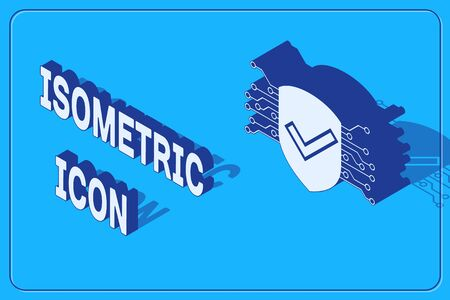 Isometric Cyber security icon isolated on blue background. Shield with check mark sign. Safety concept. Digital data protection. Vector Illustration