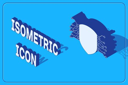 Isometric Cyber security icon isolated on blue background. Shield sign. Safety concept. Digital data protection. Vector Illustration