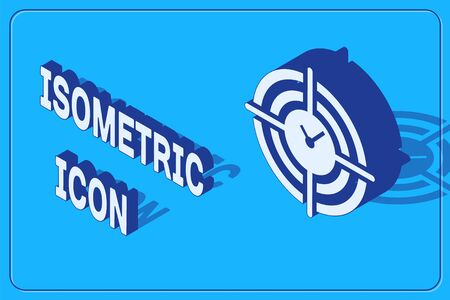 Isometric Time Management icon isolated on blue background. Clock and gear sign. Productivity symbol. Vector Illustration
