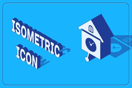 Isometric Retro wall watch icon isolated on blue background. Cuckoo clock sign. Antique pendulum clock. Vector Illustration