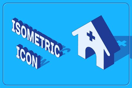 Isometric Veterinary medicine hospital, clinic or pet shop for animals icon isolated on blue background. Vet or veterinarian clinic. Vector Illustration Standard-Bild - 133842914
