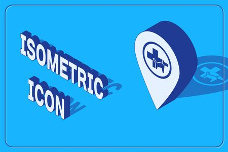Isometric Map pointer with veterinary medicine hospital, clinic or pet shop for animals icon isolated on blue background. Vet or veterinarian clinic. Vector Illustration Stock Illustratie