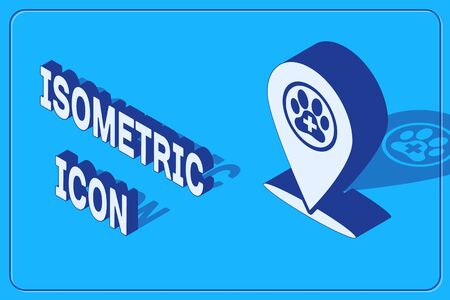 Isometric Map pointer with veterinary medicine hospital, clinic or pet shop for animals icon isolated on blue background. Vet or veterinarian clinic. Vector Illustration Standard-Bild - 133877438
