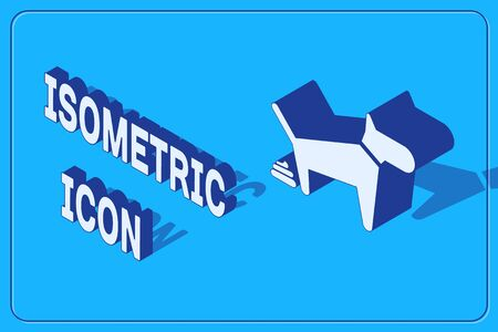 Isometric Dog pooping icon isolated on blue background. Dog goes to the toilet. Dog defecates. The concept of place for walking pets. Vector Illustration