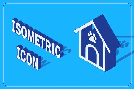 Isometric Dog house and paw print pet icon isolated on blue background. Dog kennel. Vector Illustration