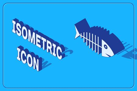 Isometric Fish skeleton icon isolated on blue background. Fish bone sign. Vector Illustration 向量圖像