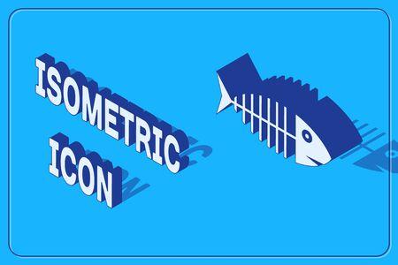 Isometric Fish skeleton icon isolated on blue background. Fish bone sign. Vector Illustration Illustration