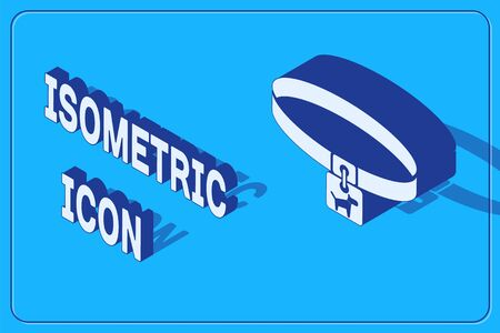 Isometric Dog collar with name tag icon isolated on blue background. Simple supplies for domestic animal. Cat and dog care. Pet dog chains. Vector Illustration
