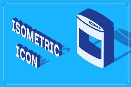 Isometric Canned food icon isolated on blue background. Food for animals. Pet food can. Vector Illustration