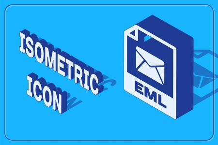 Isometric EML file document. Download eml button icon isolated on blue background. EML file symbol. Vector Illustration