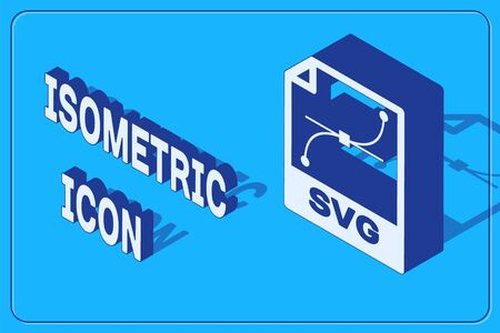 Isometric SVG file document. Download svg button icon isolated on blue background. SVG file symbol. Vector Illustration