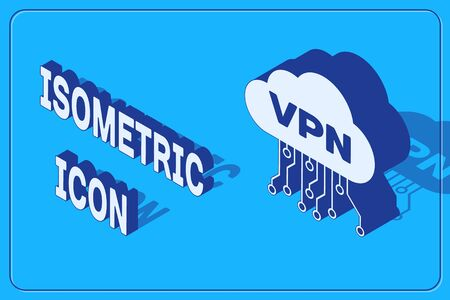 Isometric Cloud VPN interface icon isolated on blue background. Software integration. Vector Illustration Ilustrace
