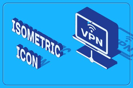 Isometric VPN Computer network icon isolated on blue background. Laptop network. Internet connection. Vector Illustration Ilustrace